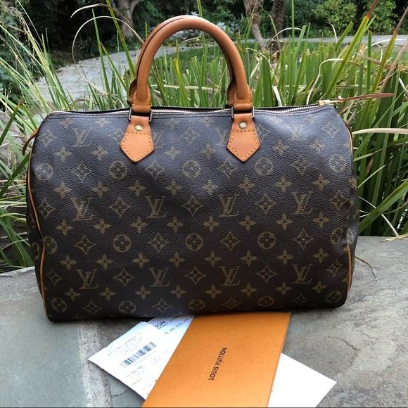 Louis Vuitton Handbags - 💯LV Mono Speedy 35 W REPAIR RECEIPT- NEW PULL 33393e28a31ae